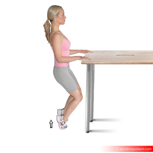 Calf raise with knees bent two legs