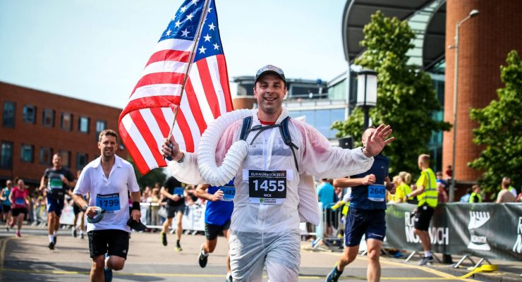 Running at Run Norwich 2019 American Flag Spaceman